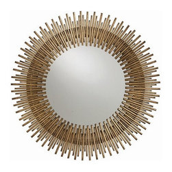 Arteriors Home - Arteriors Home Prescott Round Antiqued Gold Leaf Iron Mirror - Arteriors Home 21 - Arteriors Home 2134 - The contemporary Prescott Iron Mirror from Arteriors delivers the modern living room a glamorous accessory. Myriad golden rays in staggered lengths radiate out from a circular mirror for a stunning wall display.