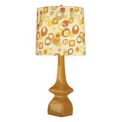 Robert Abbey - Jayne Table Lamp, Pumpkin/Artichoke - Mix up some martinis and set a retro tone with this festive lamp. The playful pattern is perfect for lighting up any room in the house. Work with the warm color palette to create a cozy space whether it's in the den, living room or bedrrom.