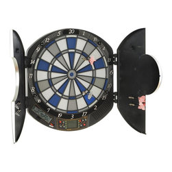 Voit Products - Raptor Electronic Dartboard Set - Includes two set of soft tip darts, AC adaptor and game play instructions. Batteries are not included. AC and DC operated. Made from MDF, fiberboard, metal and plastic. Black color. No assembly required. 21 in. W x 3.20 in. D x 18.50 in. H (7.9 lbs.)Darts! The Raptor electronic dartboard is packed with great that add electronic effects and scoring to the great game of darts! It comes in its own all-in-one molded case! Safe soft tip darts play just like the real thing. 1 to 8 players can play 29 exciting games with 90 game variations. The large LCD display shows current scoring as well as the cricket scoring system. The dartboard double bullseye and matrix match which allows you to play against the computer in 5 levels! Sound effects with an announcer adds to the fun!
