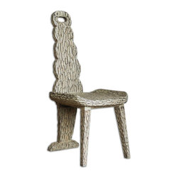 Matthew Williams - Matthew Williams Sahar Accent Chair - Inspired by tribal tradition, carved in solid mahogany with chisel marks and a smooth clay finish.