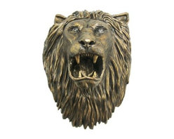 Huge Bronze Finish Lion Head Mount Wall Statue Bust Leo - Whether you're king of your jungle or your birth sign is the Leo, this huge wall-mounted lion head is sure to make you roar with pleasure. It's a wild statement for inside your house or in a covered area outdoors.