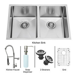 "Vigo - All in One 29"" Undermount Double Bowl Kitchen Sink and Faucet Set - Enhance the look of your kitchen with a VIGO All in One Kitchen Set featuring a 29"" Undermount kitchen sink, faucet, soap dispenser, two matching bottom grids and two sink strainers.; This double bowl sink is manufactured with 16 gauge premium 304 Series stainless steel construction with commercial grade premium scratch resistant satin finish; Fully undercoated and padded with a unique multi layer sound eliminating technology, which also prevents condensation.; All VIGO kitchen sinks are warranted against rust; Distinctive 25 mm radius curved corners with rear standard 3 1/2"" drain placement; Exterior dimensions: 29"" W x 20"" D; Interior dimensions of each bowl: 13"" W x 18"" D; Depth: 9 7/8""; Required interior cabinet space: 31""; Kitchen sink is cUPC and NSF-61 certified by IAPMO; All mounting hardware and cutout template provided for 1/8"" reveal or flush installation; Sink model: VGR2920A; Faucet features a spiral pull-down spray head for powerful spray and separate spout for aerated flow, made of solid brass with stainless steel finish.; Includes a spray face that resists mineral buildup and is easy-to-clean; High-quality ceramic disc cartridge; Retractable 360-degree swivel spout expandable up to 20""; Single lever water and temperature control; All mounting hardware and hot/cold waterlines are included; Water pressure tested for industry standard, 2.2 GPM Flow Rate; Standard US plumbing 3/8"" connections; Faucet height: 27 1/4""; Faucet spout reach: 10 1/8""; Faucet sprayer reach: 8 1/8""; Kitchen faucet is cUPC, NSF-61, and AB1953 certified by IAPMO.; Faucet is ADA Compliant; 2-hole installation with soap dispenser; Faucet model: VG02007ST; Soap dispenser is solid brass with an elegant stainless steel finish and fits 1 1/2"" opening with a 3 1/2"" spout projection.; Matching bottom grids are chrome-plated stainless steel with vinyl feet and protective bumpers.; Sink strainers are made of durable solid brass in chrome finish; All VIGO kitchen sinks and faucets have a Limited Lifetime Warranty"