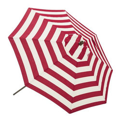 Round Umbrella, PB Classic Stripe, Cherry Red - There is no shade in my city garden plot, and with two little ones with very fair skin, that can be a little challenging. I thought about building some sort of arbor, but the down side of that is that you can't always guarantee it is going to provide shade where you want it. Instead, I bought a cute patio umbrella. It's great because it does not take up any room when I don't need it, and it's easy to lock up.