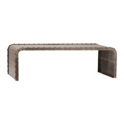 Habitat Home & Garden - Hampton Coffee Table - The Hampton Coffee Table is a rectangular metal coffee table with a gunmetal finish. It features an industrial design with its rivet details and heavy gauge steel composition. This piece would be an excellent addition to a man-cave or steam-punk haven.