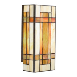 TIFFANY - TIFFANY Art Glass Tiffany Wall Sconce X-40096 - This Kichler Lighting wall sconce from the Art Glass Collection features beautiful Tiffany styling in a modern shape. The Patina Finish helps separate the color variation of the art glass pieces.