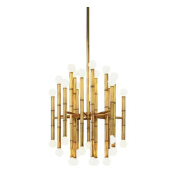 Jonathan Adler - Contemporary Jonathan Adler Meurice Collection 30-Light Brass Chandelier - This breathtaking chandelier would be a total splurge but a great focal point in a living or dining room. The round bulbs have a contemporary shape, instead of the traditional tapered candelabra bulbs.