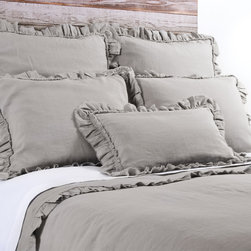 """Pom Pom at Home - Pom Pom at Home Mathilde Flax Duvet Cover - Pom Pom at Home's bedding and accessories lend lived-in elegance to everyday experiences.�� The Mathilde duvet cover enhances a bedroom's decor with sweet and feminine appeal. Frayed ruffles and luxurious velvet trim deliver a textured accent to the flax brown linen bedding. Made from 100% linen. Available in twin, queen or king sizes. Machine washable. Insert not included. Twin: 68""""W x 88""""H. Queen: 88""""W x 88""""H. King: 90""""W x 104""""H. 2.5"""" frayed edge. 0.25"""" velvet ribbon trim."""