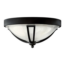 Hinkley Lighting - 2633BK Bolla Outdoor Flush Mount, Black, Clear Seedy Etched Glass - Modern Contempo Outdoor Flush Mount in Black with Clear Seedy Etched glass from the Bolla Collection by Hinkley Lighting.