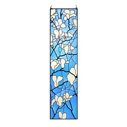 """Maclin Studio - Magnolia Blossoms Art Glass Panel - Our striking new 42"""" tall Tiffany inspired Magnolia Blossoms Art Glass Panel is hand made in the USA with a color palette of Blues, Whites and Ivory. Ht: 42"""" W: 10.25"""". On this glass panel, enamel colors are individually applied to a single sheet of tempered glass giving each panel unique aspects of both color and texture. The glass is then framed with a patinated metal came and comes complete with mounting chains."""