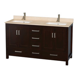 """Wyndham Collection - Sheffield 60"""" Espresso Double Vanity, Ivory Marble Top & Undermount Square Sink - Distinctive styling and elegant lines come together to form a complete range of modern classics in the Sheffield Bathroom Vanity collection. Inspired by well established American standards and crafted without compromise, these vanities are designed to complement any decor, from traditional to minimalist modern. Available in multiple sizes and finishes."""