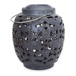 "Silver Nest - Lacey Metal Lantern- 12.25""h - This large elegant lantern will instantly refresh the look of your space with an elegant, modern look. With its intricate cutwork pattern, this lantern will bring added depth and texture to any space."