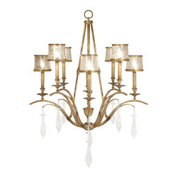 Fine Art Lamps - Monte Carlo Chandelier, 567540ST - Bring some old-world glamour into your home. The crystal combination here — shimmering swirls atop brilliant drops — goes beautifully with the gently worn gold leaf-finish.