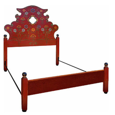 "Westwink Furniture - Spanish Revival Style painted bed set, queen or full - This hand painted bedset is made to last for generations. The artist, Anne Winkler, painted over 70 headboards for the La Fonda Hotel in Santa Fe, each one a different, original floral design of her own making.  The bedset consists of 3"" solid wood posts with 1.25"" solid headboard and footboard.  The metal frame can be installed for a queen or a full size mattress set."