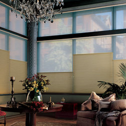 Hunter Douglas® Energy Effficent Honeycombs - Duolite Shades - Living Room - Hunter Douglas® Duette Architella Honeycomb shades are perfect for those large atrium windows. Available in top down/bottom up motorized shades as well.