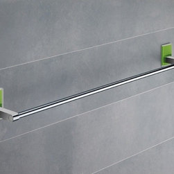 Gedy - 24 Inch Green Mounting Polished Chrome Towel Bar - Modern, simple 24 inch polished chrome towel bar made of chromed brass with mounting made out of thermoplastic resins. 24 inch towel holder made of chromed brass. Green mounting made of thermoplastic resins. From the Gedy Maine collection.