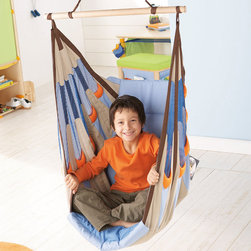 Haba Piratos Swing Seat - The extra thick upholstery of this hanging chair makes this a must for a kids room. With fun but non-intrusive colors, this sturdy seat with an all-in-one seat belt puts a new spin on reading corner. You may never get your child out.