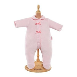 Corolle Mon Bebe Classiques 14 in. Pink Pajamas Doll Ensemble - The Corolle Mon Bebe Classiques 14 in. Pink Pajamas Doll Ensemble is a cozy way your little one can dress her baby doll for bed. These pretty pajamas are soft pink velour accented by polka dot detailing and pink ribbons. It's designed to fit her 14-inch Corolle Mon Bebe Classiques baby doll. Awww-inspiring.About CorolleCorolle is a premier doll brand designed in the storybook region of France's Loire Valley. Since 1979, Corolle has been creating highly detailed dolls designed to be cherished by children everywhere. Every Corolle doll will inspire magical childhood memories that will last for a lifetime. Corolle dolls look and feel as real as possible. They're created of soft, supple vinyl, have natural-looking hair, and wear on-trend fashions. Corolle dolls are designed durable enough to withstand years of hugs and love. Perfect heirloom treasures! Doll play encourages children to explore different roles from caring for and sharing hopes and dreams to finding an understanding playmate and friend for life. Corolle designs dolls for children of all ages.There is a range of Corolle dolls designed for specific ages. Babi Corolle is a soft-body doll perfect for newborn babies and older. It's machine-washable, feather-light, and made to be loved. Mon Premier Corolle is designed for babies 18 months and older. This line includes a range of baby dolls, clothing, and accessories. The dolls are lightweight and soft. The clothing has Velcro closures so it's easy to put on and take off. Mon Classique Corolle is a classic baby doll designed for toddlers to love and nurture. This line has a complete assortment of larger baby dolls, clothing, and nursery accessories. Some even have hair that can be brushed and styled. Others coo, giggle, drink, and go potty. Mademoiselle Corolle is a toddler doll for toddlers. These dolls have expressive faces, silky long hair, and are dressed in the latest styles. This doll will be your little one's best friend. She's perfect for sharing secrets and working out new hairstyles and fashion. Les Cheries Corolle is designed for little ones four years and older. She has long, lush, rooted hair and an amazing wardrobe of stylish outfits. This doll provides endless hours of fashion and hair play.