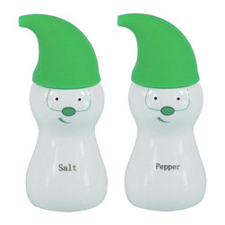 Cuisinox - Elf Salt & Peppr Set, Porcelain/Silicone Green - Certainly a conversational piece. Add color to your kitchen with this original salt and pepper set. Made of white porcelain with silicone caps.