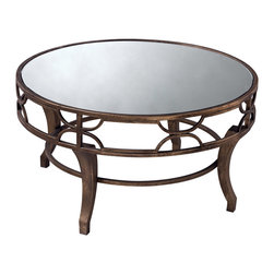 Sterling Industries - Treviso Coffee Table - Antiqued gold washed metal makes this coffee table sturdy and chic. Partner the iron with overstuffed upholstery to give any room an eclectic look. Mirrored top.