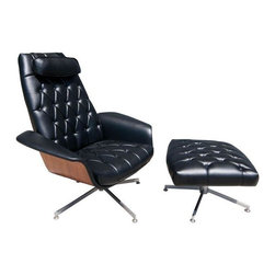 """Pre-owned Mid-Century George Mulhauser Plycraft Chair - Mid-Century Plycraft Mr. Chair and ottoman by George Mulhauser. This iconic piece features bent wood arms and exposed walnut veneered back. It sits on a chrome swivel base and has been professionally reupholstered in black vinyl. In good condition with minimal vintage wear. The chair has a scratch on the back and age appropriate patina on the chrome base. See photos for details.    Dimensions: 38"""" W x 34"""" D x 43"""" H  Ottoman: 25"""" W x 22"""" D x16"""" H"""