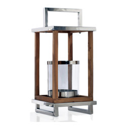 Rojo16 - Lantern, Shiny Nickel/Brown Wood, Medium - The brightest and the best: This striking wood and nickel lantern is created with four glass sides so you can enjoy the ultimate lighting capacity.