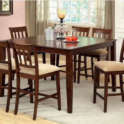 Furniture of America - Furniture of America Plainster Brown Cherry 7-Piece Counter Height Set - The Plainster is perfect for any dining décor with tasteful simplicity appeal. Featuring refined six passenger counter height table,with an expandable leaf and slat designed chairs,all coated in warm,distress brown cherry finish.