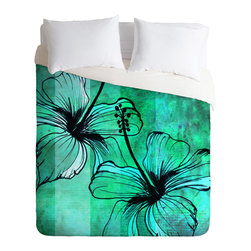DENY Designs - Sophia Buddenhagen Aqua Floral Duvet Cover - Turn your basic, boring down comforter into the super stylish focal point of your bedroom. Our Luxe Duvet is made from a heavy-weight luxurious woven polyester with a 50% cotton/50% polyester cream bottom. It also includes a hidden zipper with interior corner ties to secure your comforter. it's comfy, fade-resistant, and custom printed for each and every customer.
