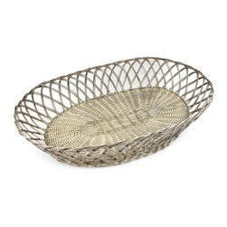 Silver-Plate Bread Basket - Vintage woven silver-plate bread basket. A beautiful addition to the dining table or used as an elegant catch-all.