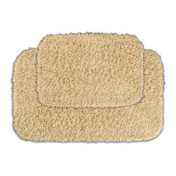 None - Quincy Super Shaggy Sand Washable 2-piece Bath Rug Set - Jazz up the bathroom,shower room,or spa with a bright note of color while adding comfort you can sink your toes into with the Quincy Super Shaggy bathroom collection. These two tan rugs are created from soft,durable,machine-washable nylon.