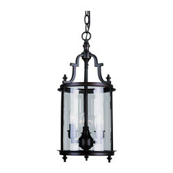 Joshua Marshal - Three Light Clear Glass Rubbed Oil Bronze Framed Glass Foyer Hall Fixture - Three Light Clear Glass Rubbed Oil Bronze Framed Glass Foyer Hall Fixture