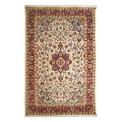 "ALRUG - Handmade Beige Persian Kirman Rug 4' 1"" x 6' 4"" (ft) - This Pakistani Kirman design rug is hand-knotted with Wool on Cotton."