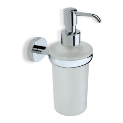 StilHaus - Wall Mounted Frosted Glass Soap Dispenser with Brass Mounting, Chrome - Decorative round wall mounted bathroom soap dispenser.