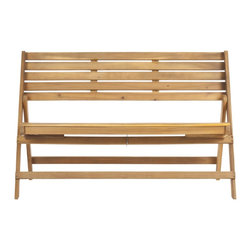 Safavieh - Luca Folding Bench, Natural Brown - Create an urban oasis with the sleek, clean lines of the Luca Folding Bench in teak-brown finish. Its organic-style acacia wood and galvanized steel make it a natural choice for a relaxing escape and its clever folding capability makes it perfect for entertaining.