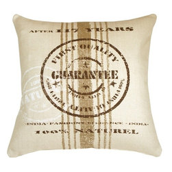 Pillow Decor - Pillow Decor - Quality Guarantee Brown Print Throw Pillow - Displaying a replica of a quality guarantee stamp that marked Cacao bean export sacks from India, this unique throw pillow will add a natural earthy touch to your decor.