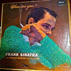 """Glittered Frank Sinatra Where Are You Album - Glittered record album. Album is framed in a black 12x12"""" square frame with front and back cover and clips holding the record in place on the back. Album covers are original vintage covers."""