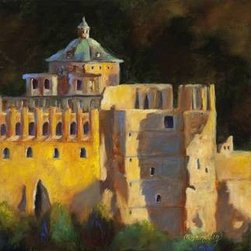 Heidelberg Schloss (Original) by Chris Brandley - Heidelberg, Germany was a favorite place of my husband and I. This castle sits up on a hill on the Neckar River in the Rhine Valley. This is painted on a gallery wrapped canvas. The painting wraps around onto the edges, so there is no need for framing!