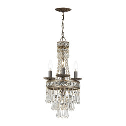 Crystorama - Crystal 4 Light Up Lighting Single Tier Chandelier - Our Mercer collection has all the angles covered. It is stunning no matter how you look at it. The metal work is as beautiful as the waterfall of crystal beads and faceted jewels that adorn it. From below, the metal forms a floral design, like something y The hand cut crystal is cut by hand in two stages on an iron wheel and then on a sandstone wheel. Each crystal is polished on a wood wheel with marble dust.