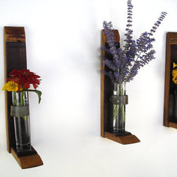 Wall Hanging Flower Holders by Wine Country Craftsman - I could see lining a hallway with a row of these charming flower holders.