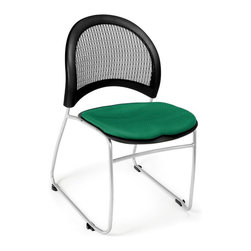 OFM - Moon Stacking Chair w Sled Base & Padded Contoured Seat - Set of 4 (Black) - Color: Black. Set of 4 chairs. Stacks 6 high without dolly, and 16-20 high with optional dolly. Triple curve seat design. Extra thick curved back with built-in lumbar support. Silver powder coat paint finish. Stain resistant fabric. Replaceable seat cushions. Sled base. Pictured in Shamrock Green. Seat size: 18.5 in. W x 17.5 in. D. Back size: 19 in. W x 15.5 in. H. Seat height: 18.25 in. . Overall: 20.75 in. W x 23.5 in. D x 32 in. H