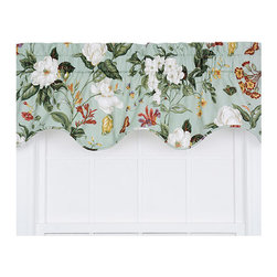 Ellis Curtain - Garden Images Sage 50 x 15-Inch Lined Duchess Filler Valance - - Ellis Curtain Garden Images Large Scale Print Duchess Filler Valance - The beautiful blooms and exciting colors are sure to bring a garden fresh feel into your home. The soft solid base color and bold floral or vine print is sure to enhance and freshen up the look of any room within your home. Made with 100-percent cotton duck fabric creates a smooth draping effect, soft texture and easy maintenance. The fabric has a unique woven design to create amazing visual appeal and interest. A decorative and functional bottom self corded edge creates a clean crisp line. Each Lined panel is constructed with 3-Inch rod pockets, decorative 2-Inch header and natural colored liner. Width is measured overall 100-Inch (both 50-Inch panels together) Length is measured overall 30-Inch from header top (ruffle above the rod pocket) to bottom of panel. For wider windows or a fuller look add the Garden Images Filler Valance between the 2-Duchess Panels. Machine Washable   - A drapery rod, which is not included, is required to complete installation   - This item is dry clean only Ellis Curtain - 730462800350