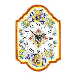 Artistica - Hand Made in Italy - Raffaellesco: Wall Clock - Raffaellesco Collection: Among the most popular and enduring Italian majolica patterns, the classic Raffaellesco traces its origin to 16th century, and the graceful arabesques of Raphael's famous frescoes.