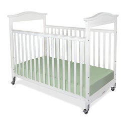 Foundations - Compact Hardwood Crib - Biltmore - The crib was manufactured in 2011 or later and complies with the new federal safety standards issued by the CPSC. Made of Hardwood. Includes Professional Series 3 in. ultra-durable Antimicrobial mattress and includes 2 in. non-marking, ultra-quiet casters (2 locking). Adjustable, 2 position mattress board. High quality construction includes mortise and tenon joinery and high strength fasteners for superior durability. Solid Steel, SafeSupport crib frame has a lifetime warranty. Plastic teething rails protect child and crib. Headboards arched crown molding. Crib has full 5 year warranty, with lifetime warranty on frame, casters and hardware. Some assembly required. 27.65 in. W x 40.4 in. L x 41.15 in. H (42 lbs.). Crib Safety: ivgStores cares about the safety of the products we sell especially for your new little one. We work closely with our manufacturers and only carry those items which meet or exceed federal and state laws. If you are considering buying a new crib or even using a previously owned or heirloom crib, we recommend you visit  cribsafety.org to learn more about crib safety.When you want to make a statement in style and quality, turn to the Biltmore crib.  Beading details the perimeter of the crib to make this crib the most luxurious crib available today in a compact size.  Color coordinated finishes are matched with hardware and casters for added beauty. Fixed-side crib features a lower profile, providing easier accessibility to infant while reducing back strain for caregiver. Crib features Clearview end panels which allow for easy viewing of infant. JPMA certified.  Foundations uses only Wood certified to having been harvested with safe and responsible forestry practices and all products comply with the PEFC certification seal.