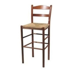 Dixie Seating - 30 in. Shaker Style Ladderback Barstool (Blac - Finish: BlackClassic, Shaker inspired design elements make this ladder back bar stool an excellent choice for timeless, traditional designs. The stool is made of wood in your choice of finish options and features a woven rush seat for a splash of rustic, old world charm. Classic large Shaker style ladder back chair. Made of solid ash hardwood. Rush seat. Made in the USA. Features our hand steam bent posts. Pictured in Medium Oak finish. Color may vary slightly. No assembly required. Underside is unsanded. Seat height: 30 in.. 20 in. W x 16.5 in. D x 42 in. H
