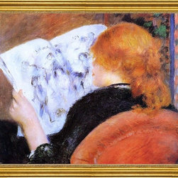 "Pierre Auguste Renoir-16""x20"" Framed Canvas - 16"" x 20"" Pierre Auguste Renoir Young Woman Reading an Illustrated Journal framed premium canvas print reproduced to meet museum quality standards. Our museum quality canvas prints are produced using high-precision print technology for a more accurate reproduction printed on high quality canvas with fade-resistant, archival inks. Our progressive business model allows us to offer works of art to you at the best wholesale pricing, significantly less than art gallery prices, affordable to all. This artwork is hand stretched onto wooden stretcher bars, then mounted into our 3"" wide gold finish frame with black panel by one of our expert framers. Our framed canvas print comes with hardware, ready to hang on your wall.  We present a comprehensive collection of exceptional canvas art reproductions by Pierre Auguste Renoir."
