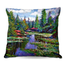 DiaNoche Designs - Pillow Woven Poplin by David Lloyd Glover - Waterlily Lake Reflections - Toss this decorative pillow on any bed, sofa or chair, and add personality to your chic and stylish decor. Lay your head against your new art and relax! Made of woven Poly-Poplin.  Includes a cushy supportive pillow insert, zipped inside. Dye Sublimation printing adheres the ink to the material for long life and durability. Double Sided Print, Machine Washable, Product may vary slightly from image.