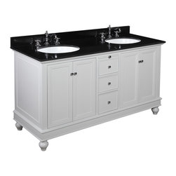 Kitchen Bath Collection - Bella 60-in Double Sink Bath Vanity (Black/White) - This bathroom vanity set by Kitchen Bath Collection includes a white cabinet, soft close drawers, self-closing door hinges, black granite countertop, double undermount ceramic sinks, pop-up drains, and P-traps. Order now and we will include the pictured three-hole faucets and a matching backsplash as a free gift! All vanities come fully assembled by the manufacturer, with countertop & sink pre-installed.