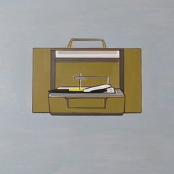 """Iconic Vintage Portable Record Player"" (Original) By Wyatt Mcdill - This Painting Is For Anyone Who'S A Fan Of Music, Records, And Old-Fashioned Machines."