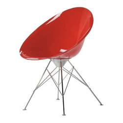 Kartell - Eros Chair by Kartell - The Kartell Eros Chair designed by Philippe Starck is an armchair with an organic egg shape, a refined combination of finishes and an adept use of color. The quality and richness of its component materials, both for the body and the base, make it particularly elegant and sophisticated. The Eros Chair is not only idea for the home but also fits nicely into offices or in waiting areas. The Eros Chair features a polycarbonate seat and Chromed steel body. Founded in 1949 by Giulio and Anna Castelli, Kartell has become the world leader—and innovator—in the realm of molded plastic furniture. Headquartered in Italy, Kartell works with designers worldwide to create their distinctive line of modern furniture, lighting and accessories. Dedication to discovering and employing new technologies and manufacturing methods results in a growing line of durable, stylish and cutting edge products.