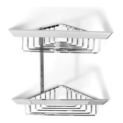 Italbrass - Italbrass | Kone Double Corner Shower Basket - Made in Italy by Italbrass®.A part of the Kone Collection. The Kone Double Corner Shower Basket fits compactly into the corner of a shower to provide a sturdy platform for all toiletries and bathing necessities.  The basket's effective open form allows water to drain out easily, eliminating the chance of mold or mildew build-up. The solid-brass construction resists rust and corrosion.  Product Features: