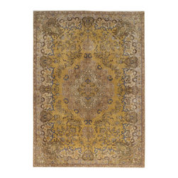 "ALRUG - Handmade Brown Persian Antique Vintage Rug 7' 7"" x 10' 8"" (ft) - This Persian Vintage design rug is hand-knotted with Wool on Cotton."